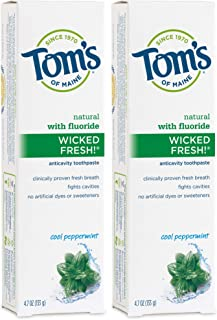 product image for Tom's of Maine Natural Wicked Fresh Fluoride Toothpaste, Natural Toothpaste, Toothpaste, Cool, Peppermint, 4.7 Ounce (Pack of 2), 9.4 Ounce