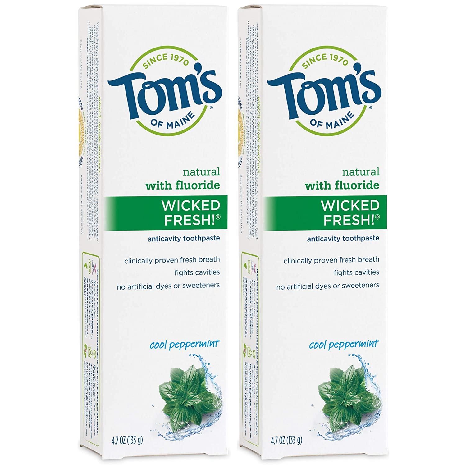 Tom's of Maine Natural Wicked Fresh Fluoride Toothpaste, Natural Toothpaste, Toothpaste, Cool Peppermint, 4.7 Ounce, 2-Pack