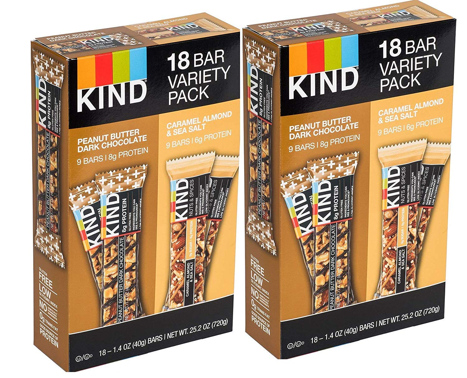 KIND Bar Caramel almond and sea salt & Peanut Butter Dark Chocolate,Variety Pack, 36 Bars by KIND (Image #1)