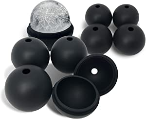 JADEWELL 8 Pack Ice Ball Molds for Whiskey 2.5 Inch Silicone Ice Sphere Maker for Cocktail Scotch Food Grade and BPA Free Black