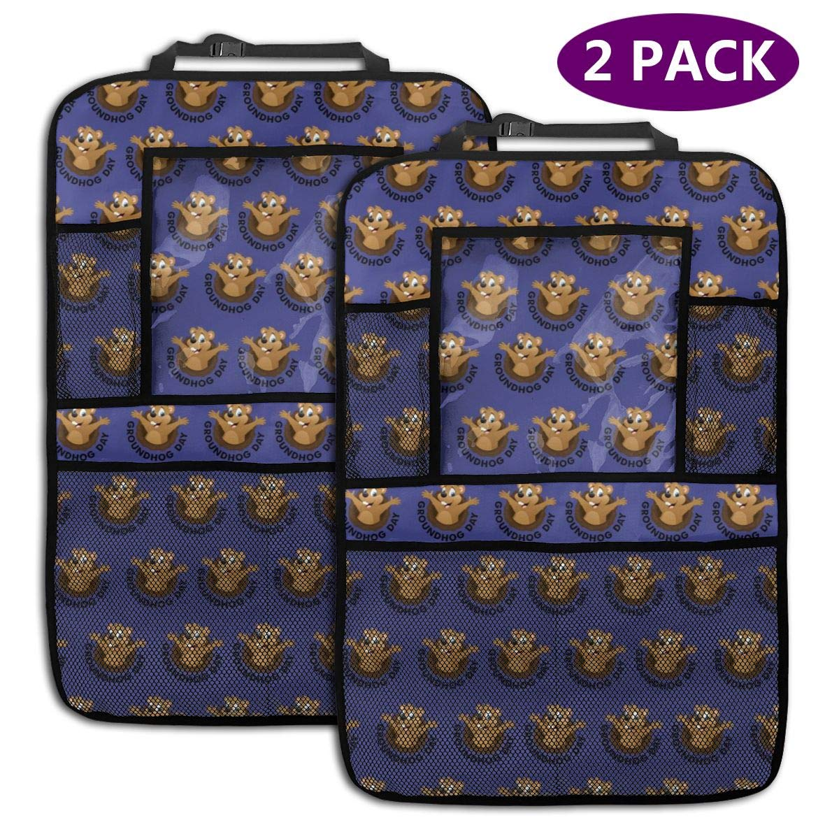QF6FEICHAN Groundhog Day Pattern Car Seat Back Protectors with Storage Pockets Kick Mats Accessories for Kids and Toddlers by QF6FEICHAN