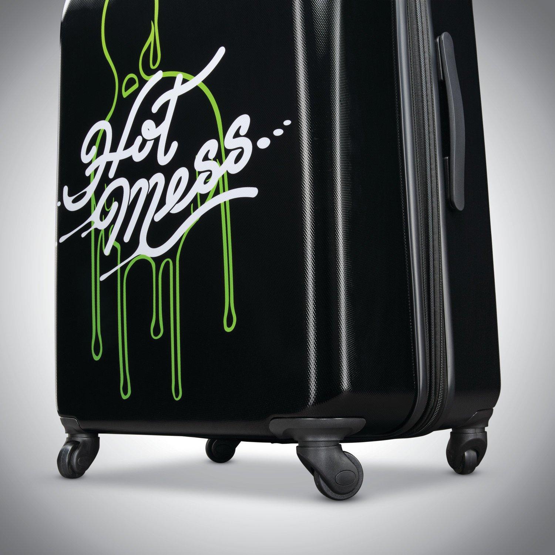 American Tourister Kids' Nickelodeon Slime Hardside Spinner 21, Black/Green