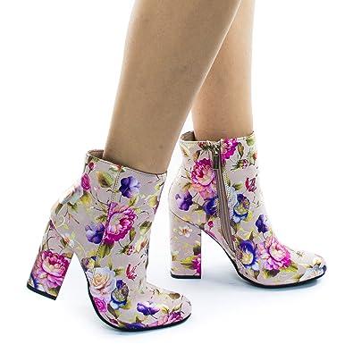 Metallic Floral Print Block Heel Ankle Bootie w Faux Fur Inner Lining