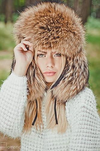 4b79d3b69 Women's Real Fur Russian Trooper Ushanka Winter Hat with Ear Flaps ...
