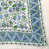 "Floral Block Print Cotton Scarf - 42"" x 42""- Green-Blue"