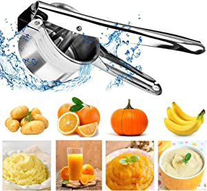 Potato Masher, Stainless Steel Manual lever Juicer and Presser, Baby Food Crusher and Strainer with 3 Interchangeable Fineness Discs