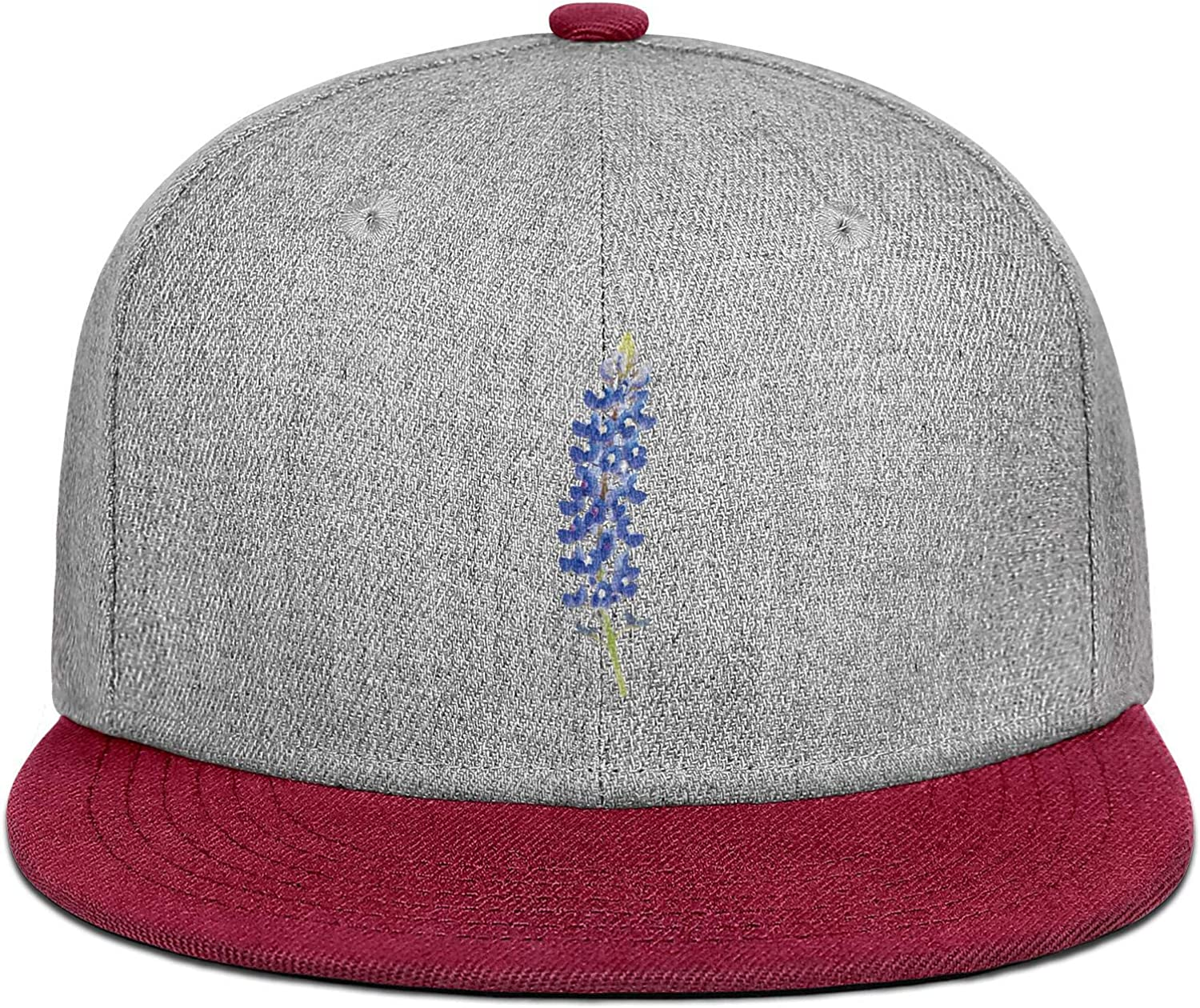 Mens Women Flat Hats Texas Bluebonnet State Flower Snapback Fits Cap