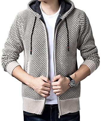 9644f3a680bb6a Fuwenni Men s Casual Slim Fit Zip Up Thick Warm Hooded Knitted Cardigan  Sweaters with Pockets Apricot