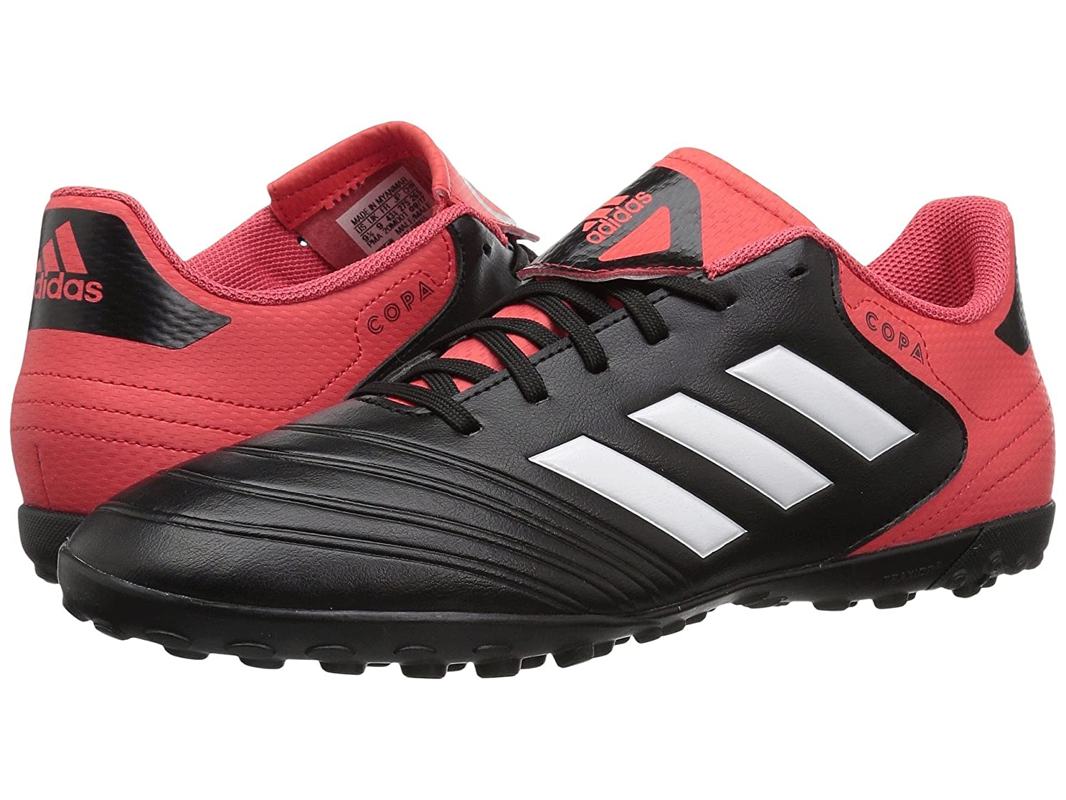 (アディダス) adidas メンズサッカーシューズ靴 Copa Tango 18.4 Turf Black/White/Real Coral 11.5 (29.5cm) D Medium B07C9D4VS3