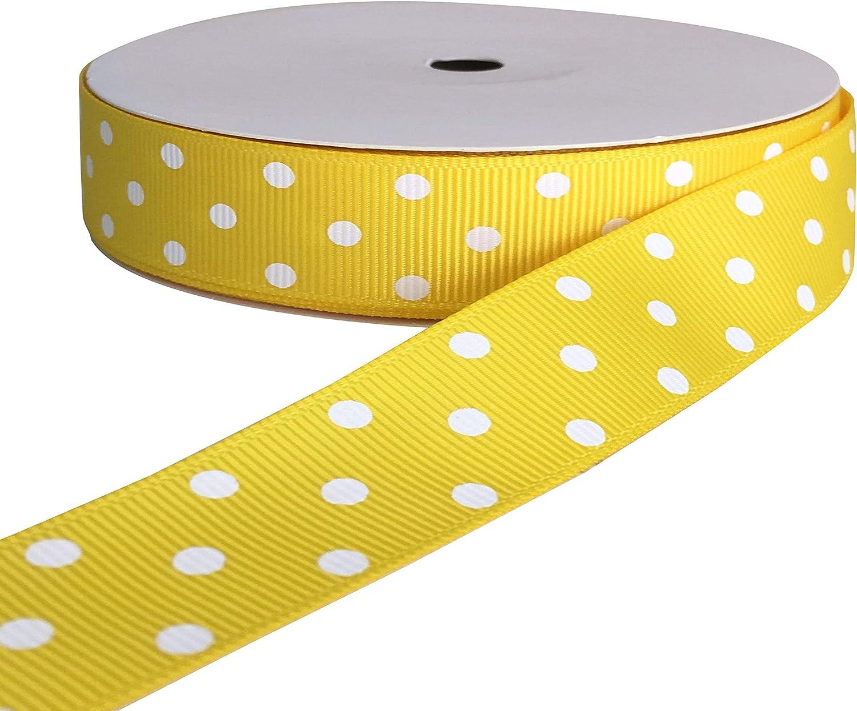 "5 Yards SALE Sunny Yellow Glitter Polka Dot Sheer Wired Ribbon 2 1//2/""W"
