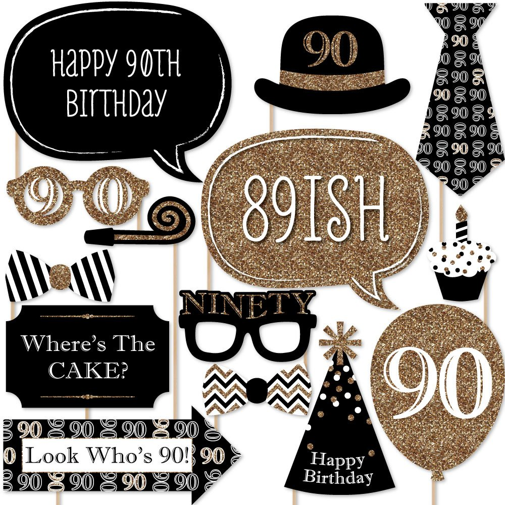 Adult 90th Birthday - Gold - Photo Booth Props Kit - 20 Count