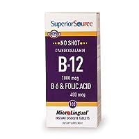 Superior Source No Shot Vitamin B12 Cyanocobalamin 1000 mcg Sublingual - B6 - Folic...