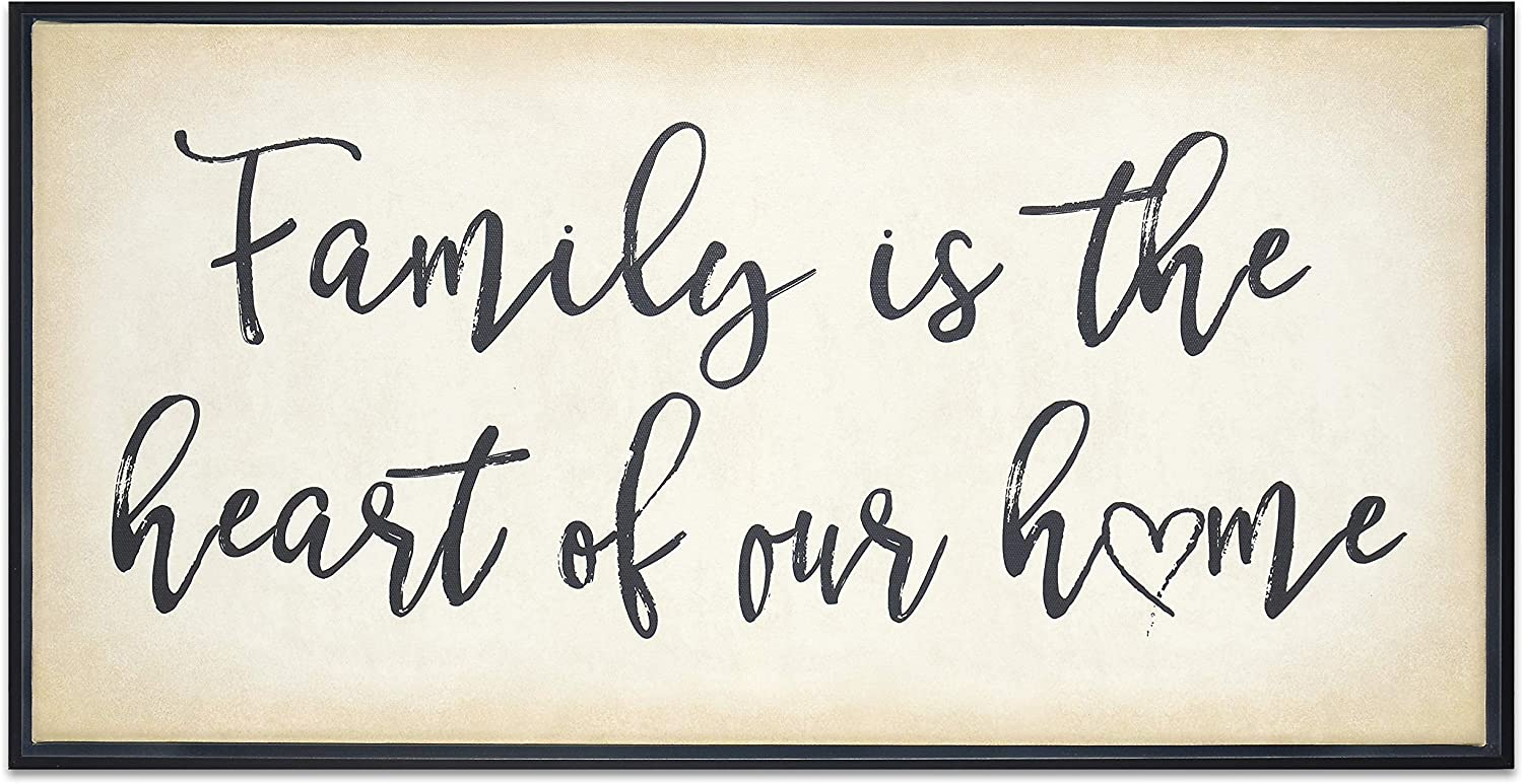 Homekor Family is The Heart of Our Home Inspirational Quotes - Framed Canvas Print Hanging Wall Decor 24 x 12