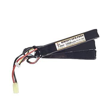 Militar-TLD® Bateria Airsoft Bateria IPower 1300mAh 11.1V 20C 3 elementos 5005: Amazon.es: Deportes y aire libre