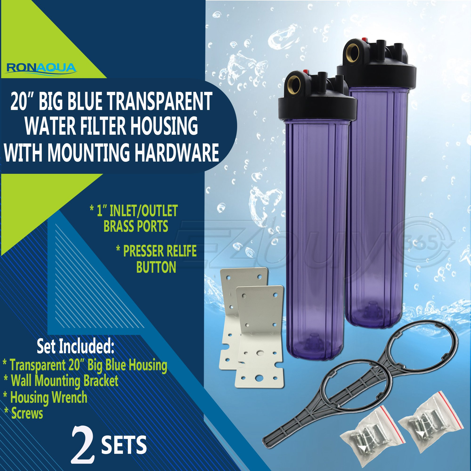 "20'' Big Blue Housing for Whole House Water Filtration System, 1"" Brass Port, Mounting Hardware Included! (2 Sets, Transparent)"