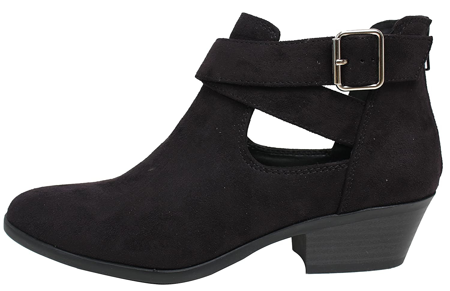 Soda Women's Closed Toe Criss Cross Buckle Cutout Low Stack Heel Ankle Boot B078J73MMX 6 B(M) US|Black