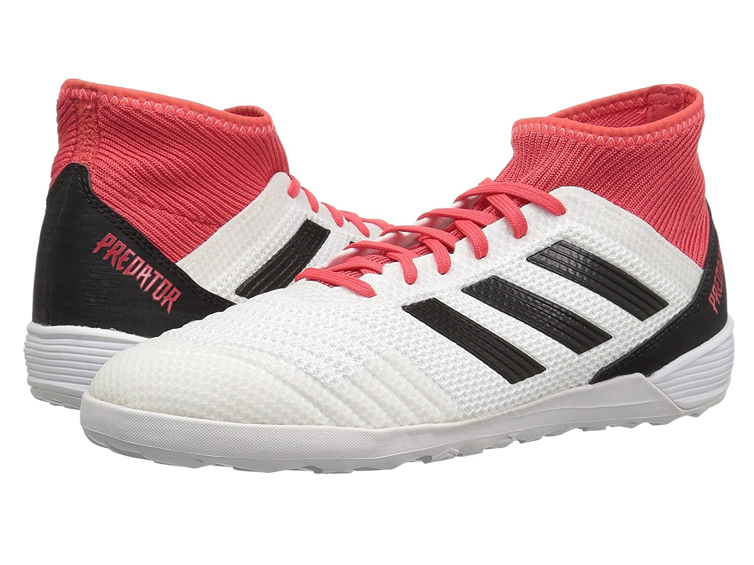 (アディダス) adidas メンズサッカーシューズ靴 Predator Tango 18.3 Indoor White/Black/Real Coral 6.5 (24.5cm) D Medium B07BQHRG34