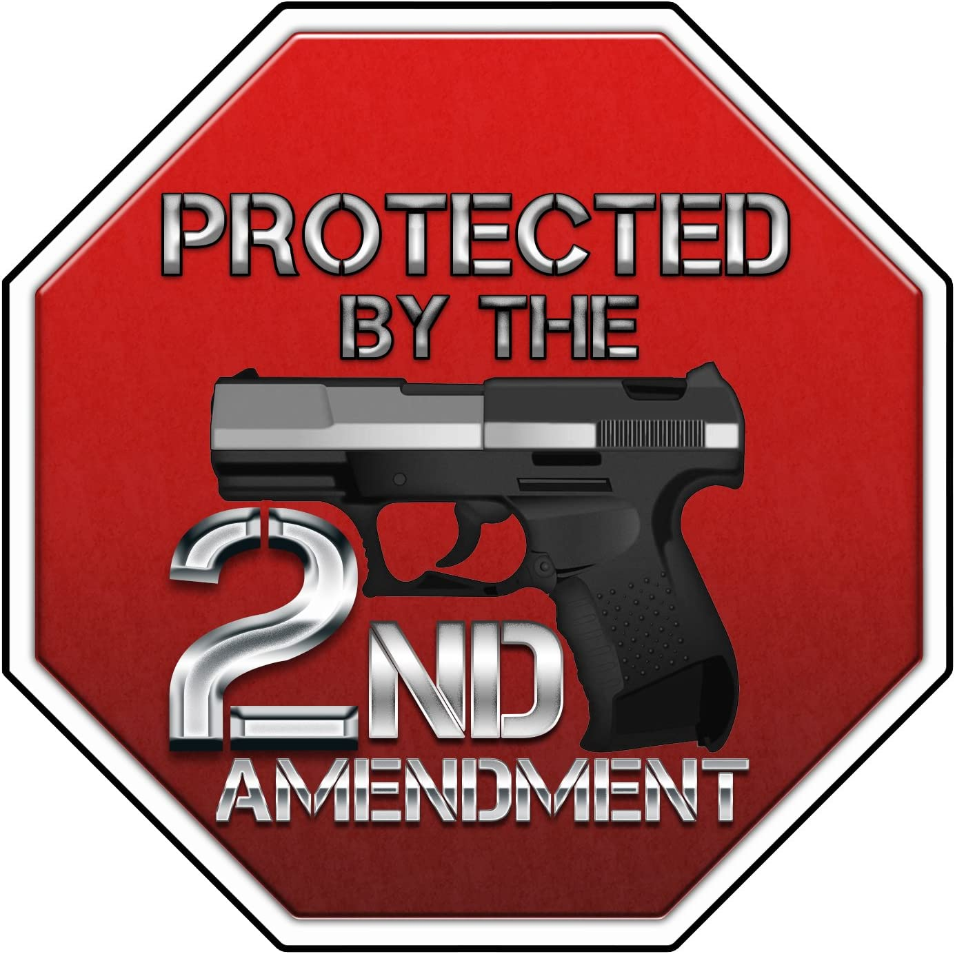 Bargain Max Decals Protected by 2nd Amendment Security Gun Window Laptop Car Sticker 6""
