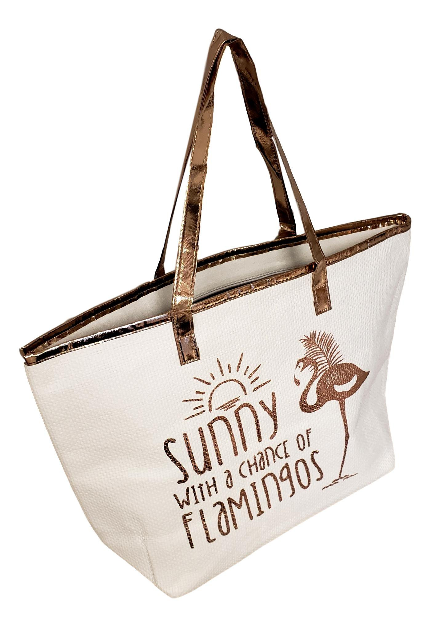 Metallic Trim Large Zipper Top Summer Themed Beach Bag Tote (Sunny Flamingo Rose Gold)