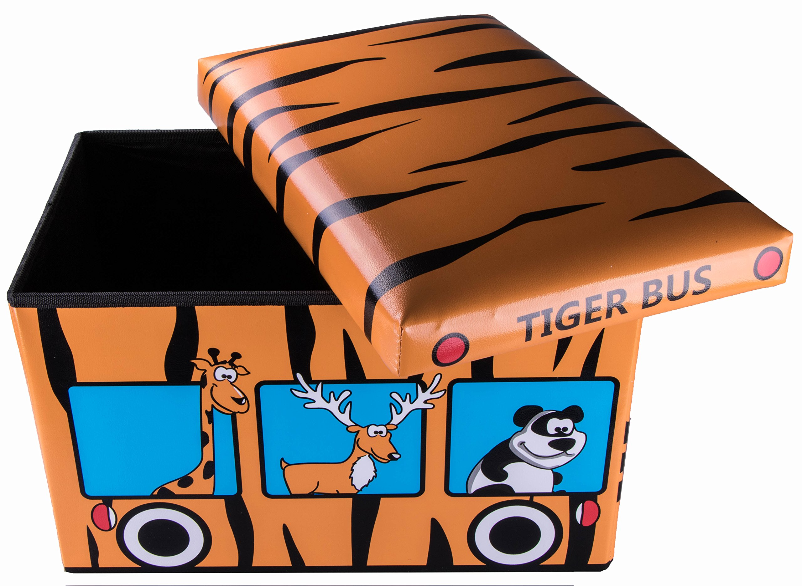 Safari Bus Collapsible Storage Organizer by Clever Creations | Storage Box Folding Storage Ottoman for Your Bedroom | Perfect Size Storage Chest for Books, Shoes & Games by Clever Creations (Image #2)