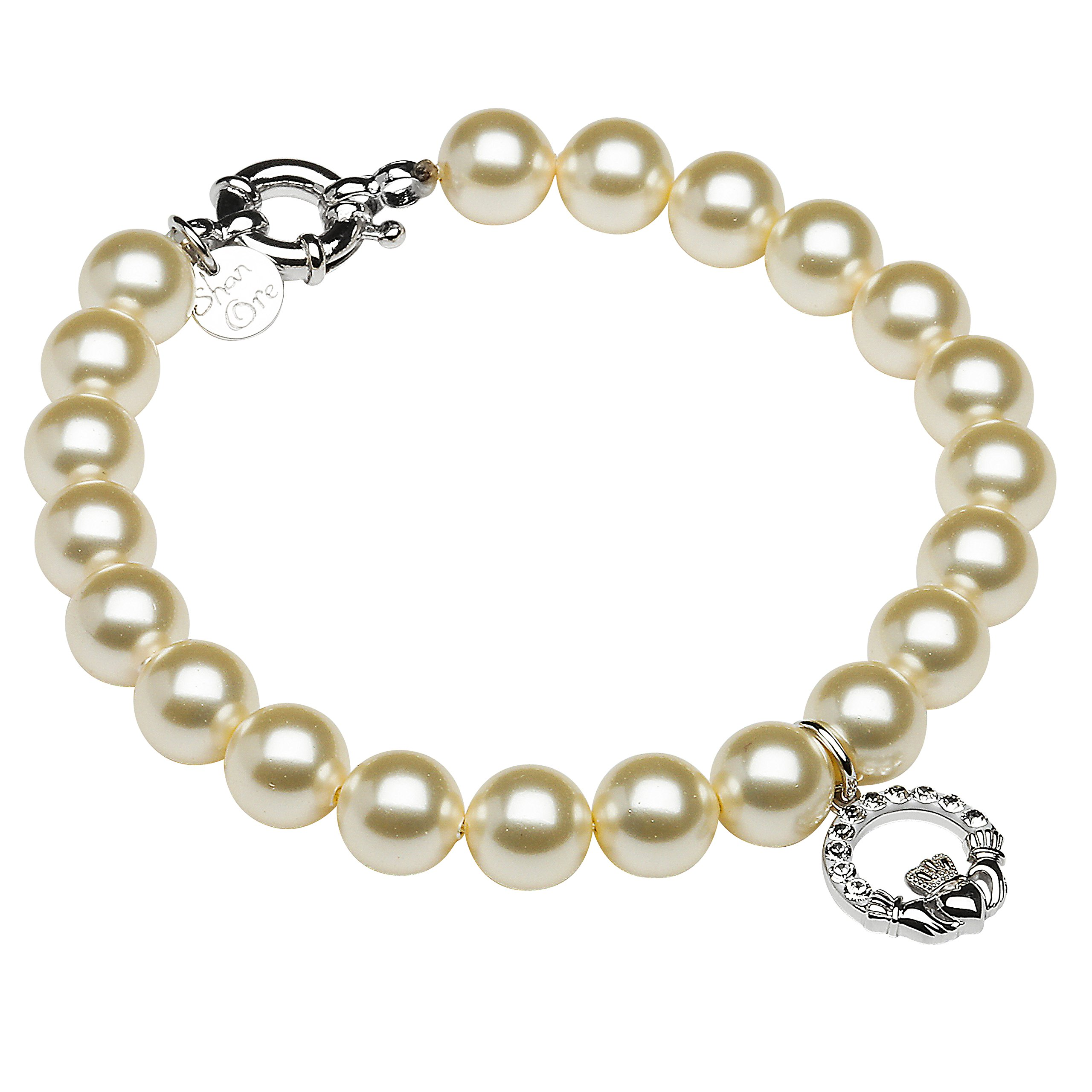Hallmarked Sterling Silver Claddagh Pearl Bracelet With Swarovski Crystals