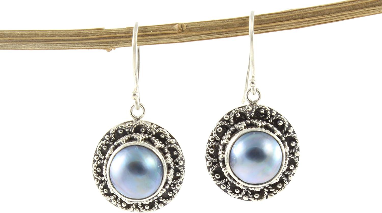 Shadi - Pendientes de plata de ley con perla natural, étnicos y artesanales - joyería de plata artesanal