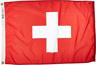 product image for Annin Flagmakers Model 198156 Switzerland Flag Nylon SolarGuard NYL-Glo, 2x3 ft, 100% Made in USA to Official United Nations Design Specifications