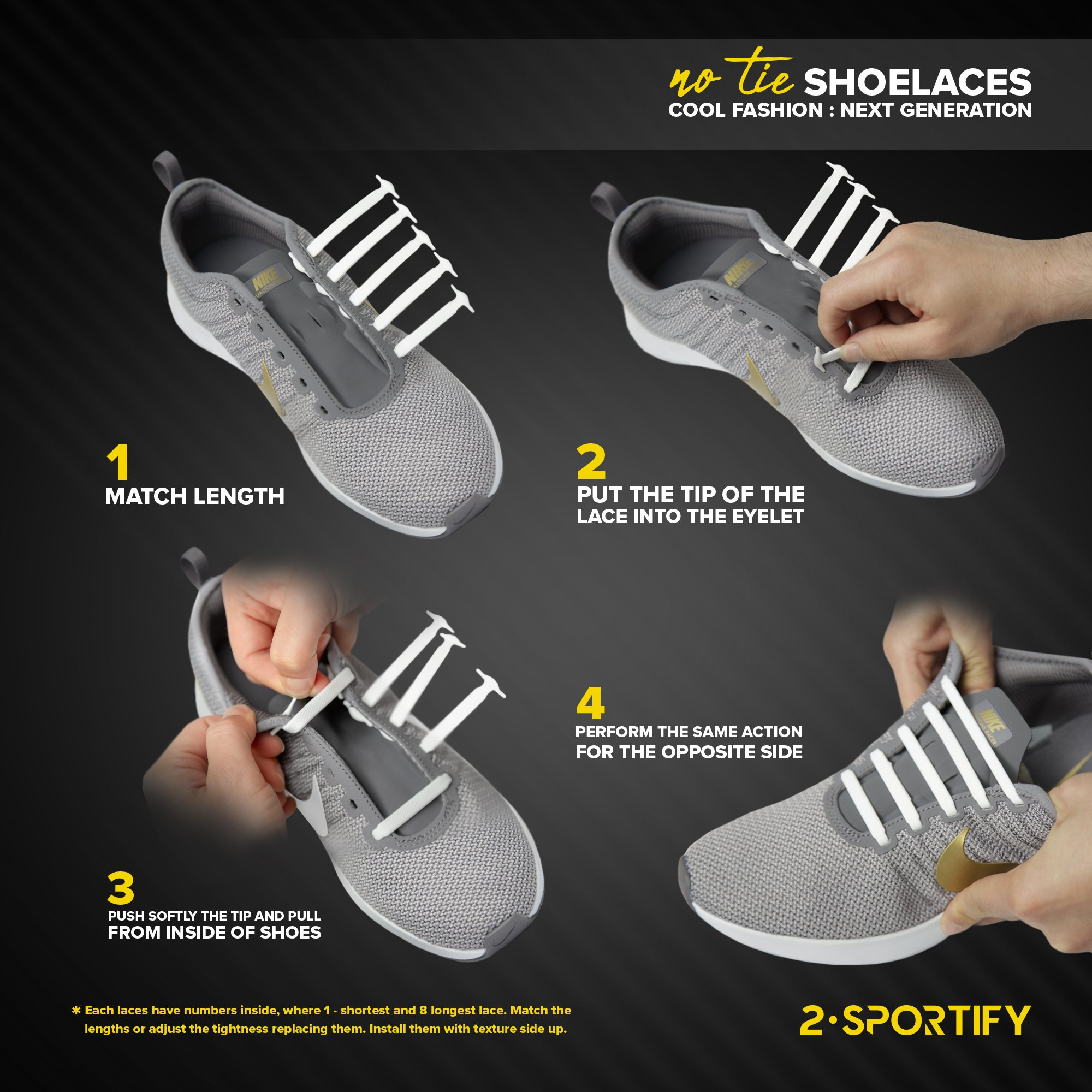 2SPORTIFY No Tie Shoelaces for Kids and Adults - Tieless Elastic Shoe lace for Sneakers Silicone Flat Laces 2 pair (Black-White)