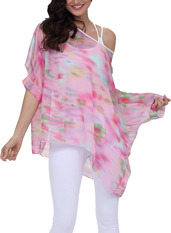 Nicetage Bohemian Floral Chiffon Blouse Casual Batwing Blouse Hippie Semi Sheer Loose Tops