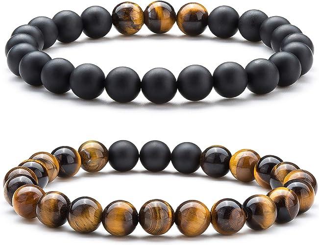 Men Women Natural Stone Rock Elastic Yoga Beads Bangle Bracelet Chain Jewlery