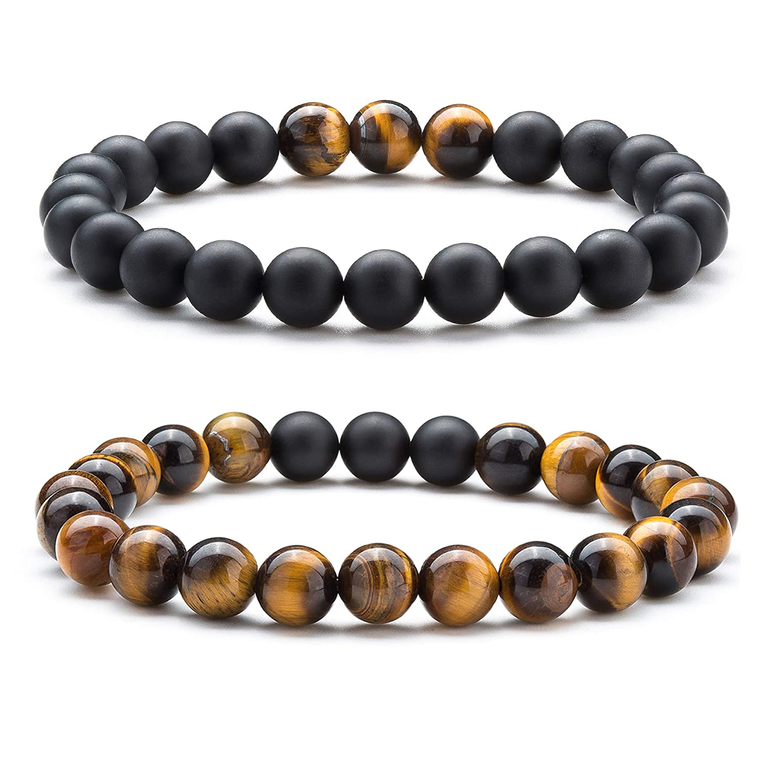 dfe1a50ff7e8a Hamoery Men Women 8mm Tiger Eye Stone Beads Bracelet Elastic Natural Stone  Yoga Bracelet Bangle-21003