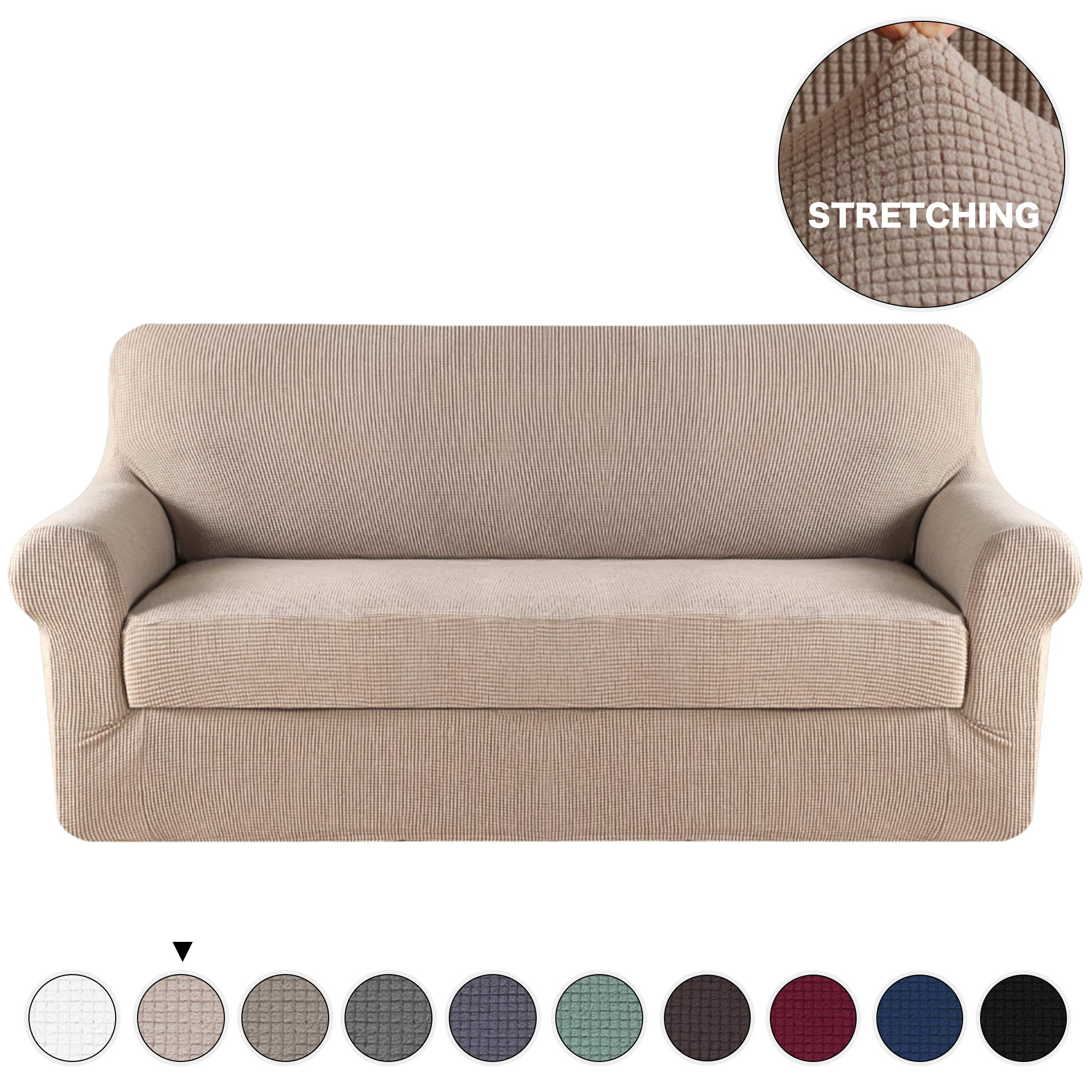 Turquoize 2 Piece Couch Covers for Furniture Sofa Protector Cover, Khaki Spandex Slipcover/Lounge Cover, Slip Resistant Stylish Furniture Protector Knit Jacquard Machine Washable, Sofa, Sand by Turquoize