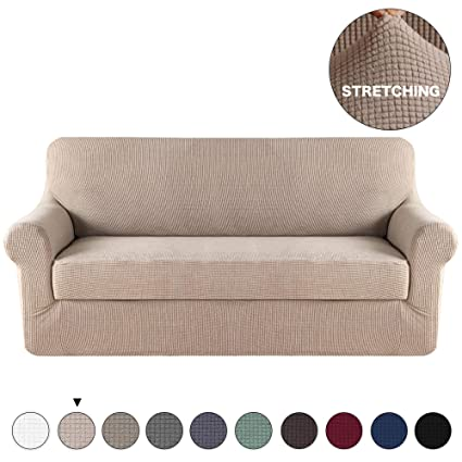 Amazon.com: Turquoize Jacquard Fit Stretch Sofa Cover 2 ...