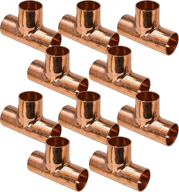"""10 3//4/"""" x 1//2/"""" x 3//4/"""" Copper Tees"""