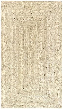 Hamid Tapis Jute Naturel Alhambra Tapis 100 Fibre De Jute Couleur Semi Blanc 80x150cm