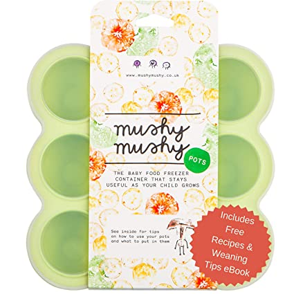 Envases para Alimentos de Bebés Mushy Mushy - 9 Envases Fácilmente Extraíbles - Bandejas para Congelador de Silicona de Larga Duración con Libro ...