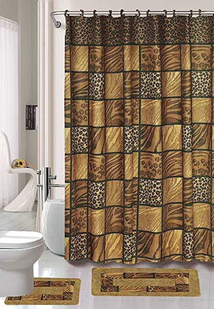 Superb Brown Safari 15 Piece Bathroom Set Animal Print Bath Rugs Shower Curtain U0026  Rings