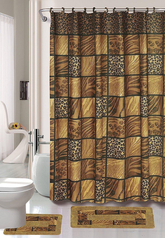 SMT_EHF 15-Piece Bathroom Accessory Set 2 Bath Mats Shower Curtain/Leopard Brown Animal