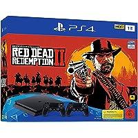 PlayStation 4 - console (1 TB, zwart, slim) incl. Red Dead Redemption 2 + 2 DualShock Controller