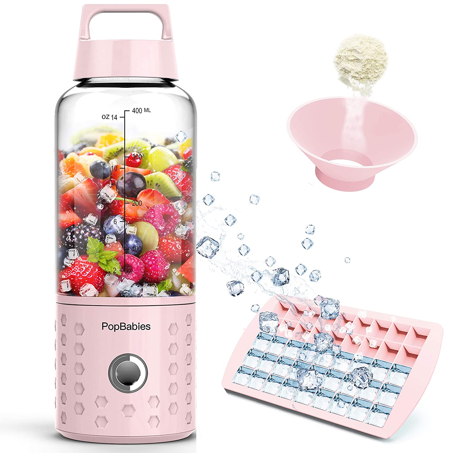 PopBabies Portable Blender, Mini Smoothie Maker with with USB Rechargeable, Larger Stronger and Faster, Blending While Charging with Brush, Funnel, Recipe Princess Pink(FDA BPA Free)