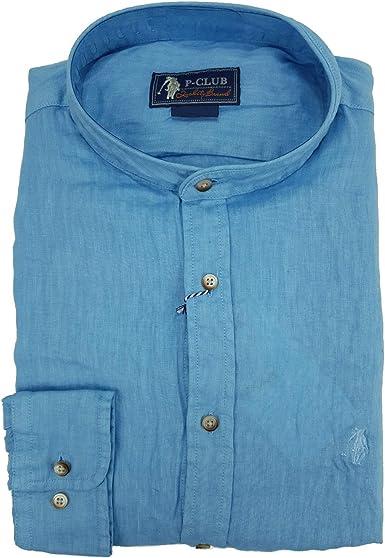 P-Club Camisa de hombre de manga larga, 100% puro lino, tallas grandes, cuello a la coreana, 4XL, 5XL, 6XL