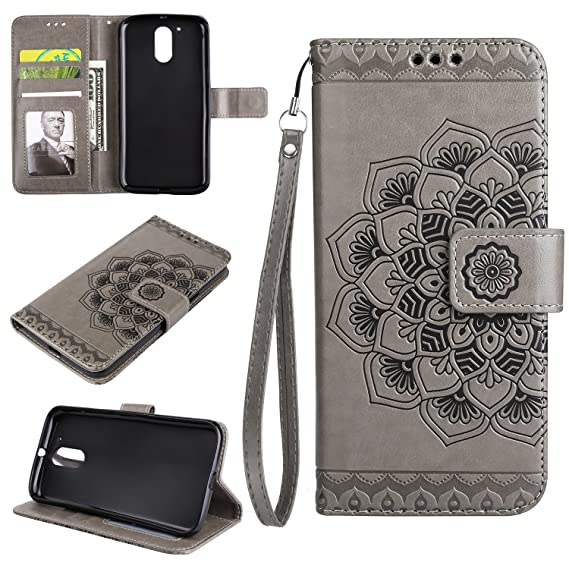 info for 68d66 fe118 NEXCURIO [Embossed Flower] Moto G4 / G4 Plus Wallet Case with Card Holder  Folding Kickstand Leather Case Flip Cover for Motorola Moto G 4th ...