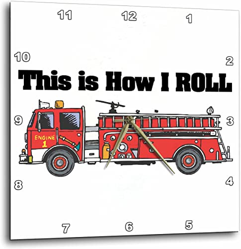 3dRose Dooni Designs Funny and Humorous Designs – This is How I Roll Fire Truck Firemen Design – 15×15 Wall Clock DPP_102607_3