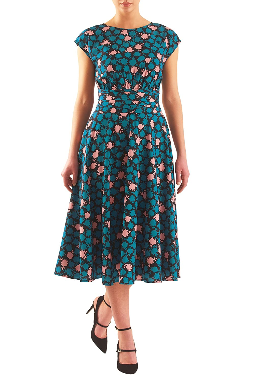 1940s Style Dresses and Clothing eShakti Womens Floral print pleated empire crepe dress $74.95 AT vintagedancer.com