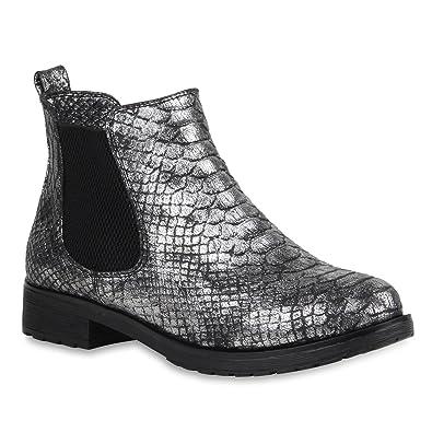 039918f988ee60 Damen Stiefeletten Metallic Snake Print Chelsea Boots Schuhe 106236 Silber  Snake 36 Flandell