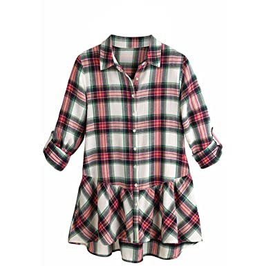 c02c11e4200145 Women's Tunic Top - Pink Plaid Flannel Button Down Roll Tab Sleeve Shirt -  Small