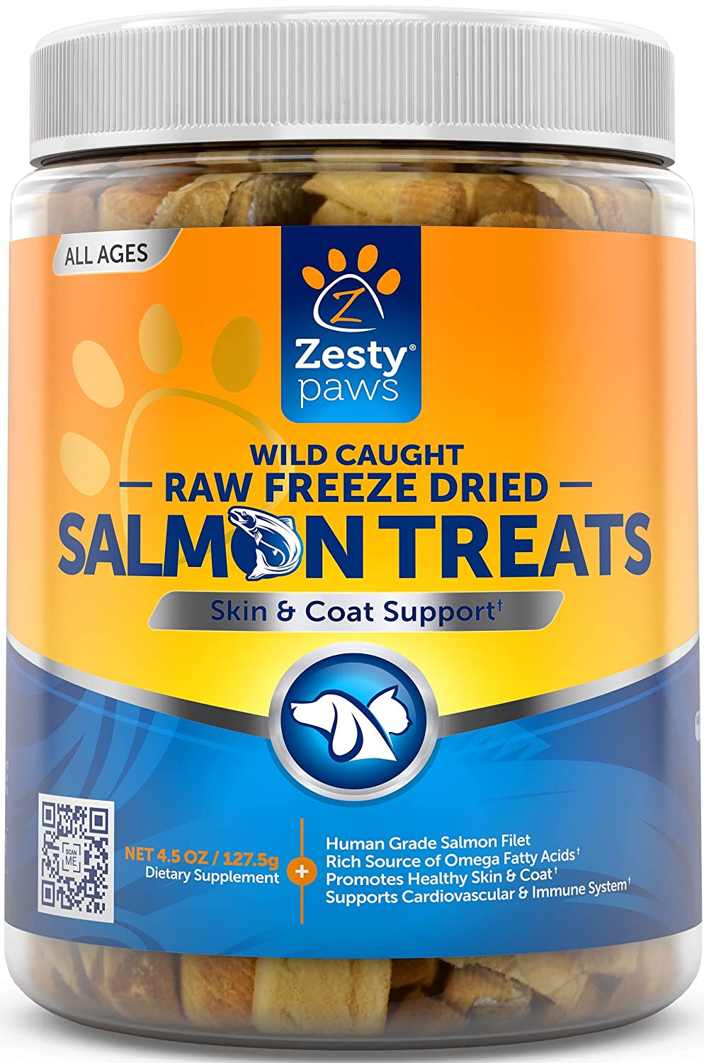 Freeze Dried Salmon Filet Treats for Dogs & Cats - With Pure Raw & Wild Caught Pacific Sockeye Salmon Fish - Omega 3 EPA + DHA Fatty