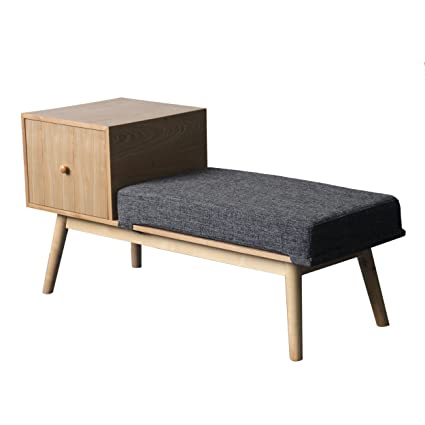 Andrew Mid Century Fabric And Faux Wood Storage Bench, Dark Grey Tweed