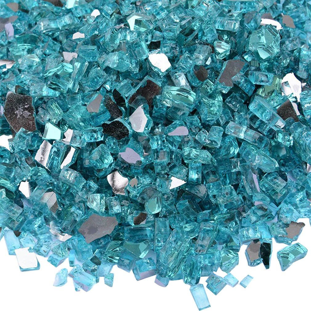 Onlyfire Fire Glass for Natural or Propane Fire Pit, Fireplace, or Gas Log Sets, 10-Pound, 1/4-Inch, Reflective Caribbean Blue