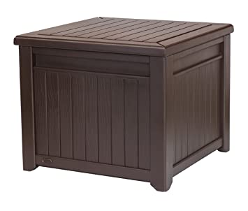 Awesome Keter Cube Wood Look 55 Gallon All Weather Garden Patio Storage Table Or  Bench